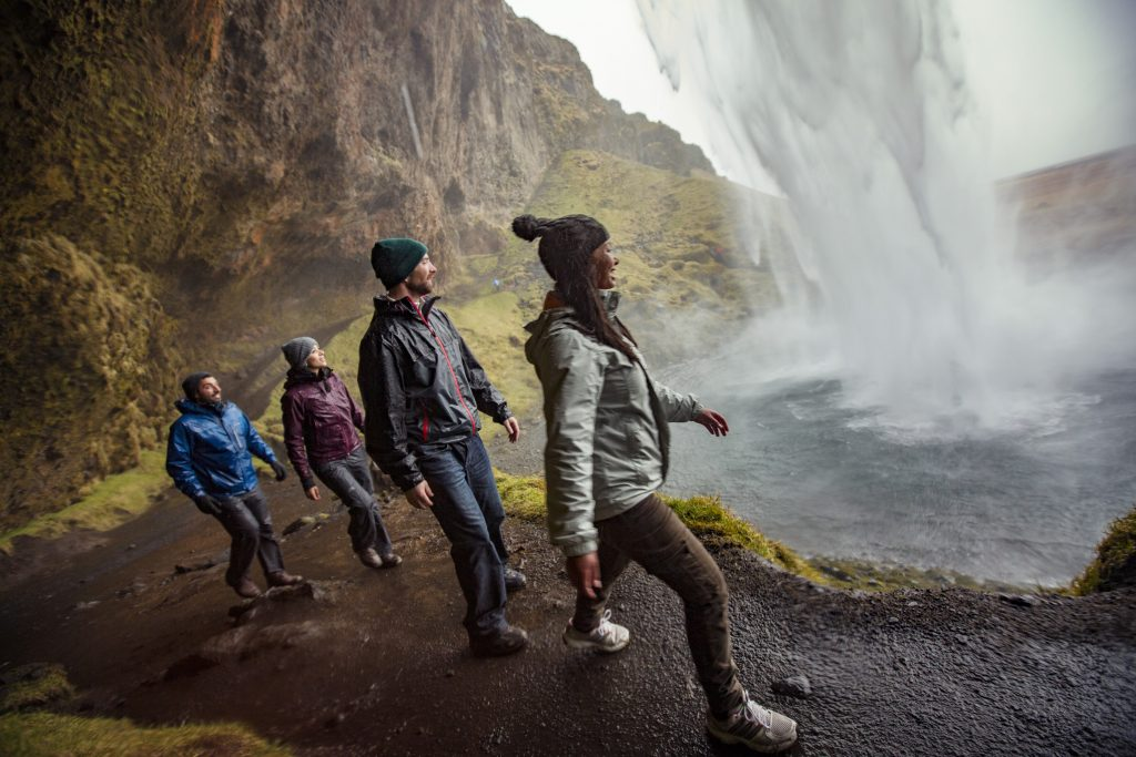 Iceland Vik Seljaldsfoss Waterfall Mist Hike Group